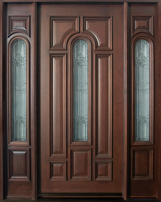 Classic Mahogany Wood Front Door - Single with 2 Sidelites - DB-525 2SL CST