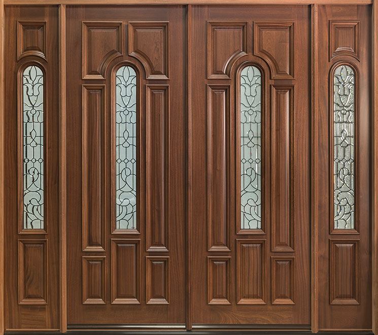 Classic Mahogany Wood Front Door - Double with 2 Sidelites - DB-525 DD 2SL CST