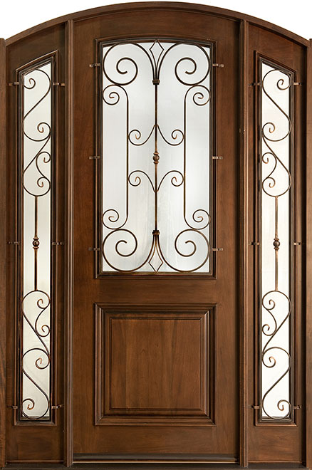 Classic Mahogany Wood Front Door - Single with 2 Sidelites - DB-552WI 2SL CST
