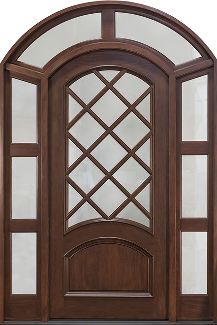 Classic Mahogany Wood Front Door - Single with 2 Sidelites w/ Transom - DB-552W 2SL TR CST