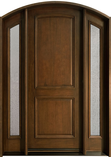 Classic Cherry Wood Front Door - Single with 2 Sidelites - DB-552 2SL CST