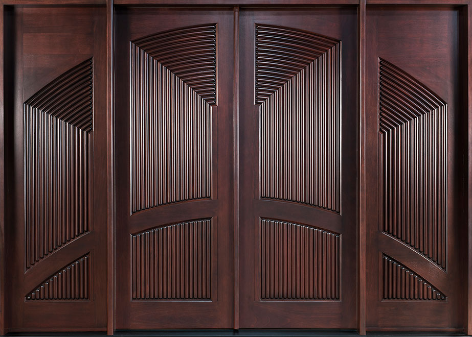 Modern Mahogany Wood Front Door - Double with 2 Sidelites - DB-580A DD 2SL CST