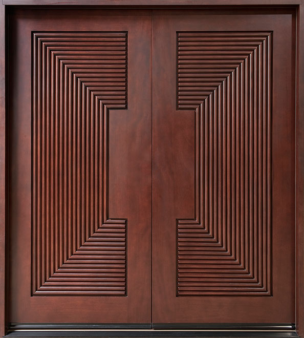 Modern Mahogany Wood Front Door - Double - DB-580A DD CST