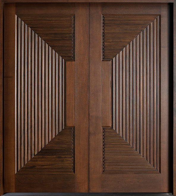 Modern Mahogany Wood Front Door - Double - DB-580B DD CST