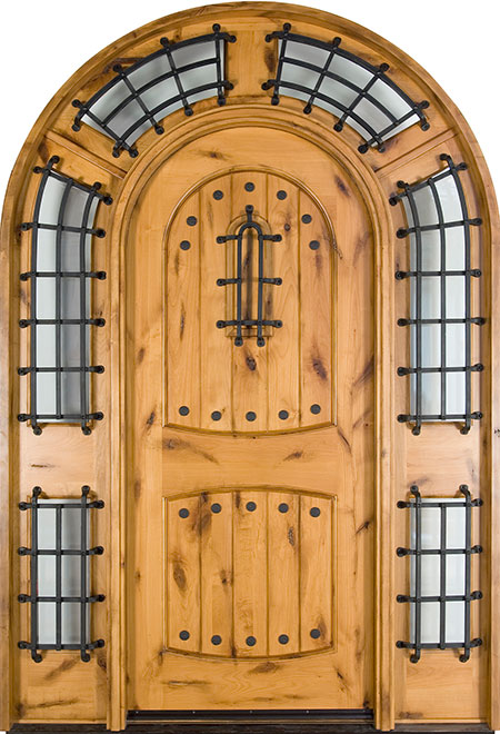 Rustic Knotty Alder Wood Front Door - Single with 2 Sidelites - DB-595S SL CST