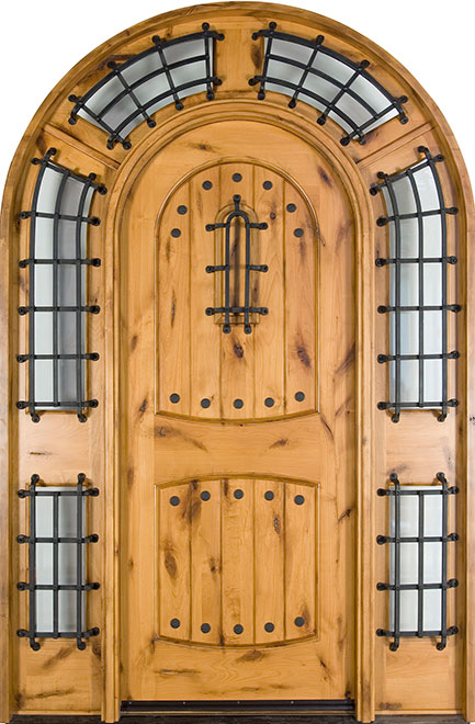 Rustic Knotty Alder Wood Front Door - Single with 2 Sidelites - DB-595W SL CST