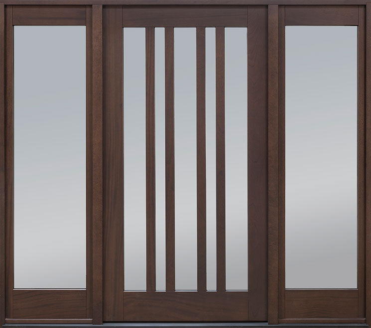 Modern Mahogany Wood Front Door - Single with 2 Sidelites - DB-606PW 2SL CST