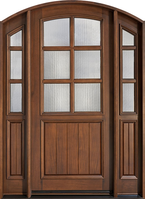 Classic Cherry Wood Front Door - Single with 2 Sidelites - DB-652 2SL CST