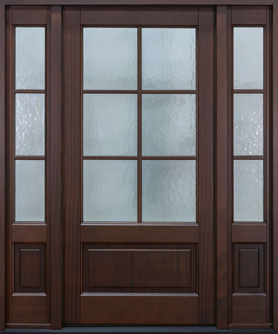 Classic Mahogany Wood Front Door - Single with 2 Sidelites - DB-655PS 2SL CST