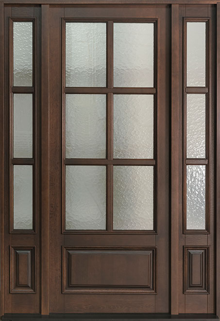 Classic Rift-Cut Oak Wood Front Door - Single with 2 Sidelites - DB-655PW 2SL CST