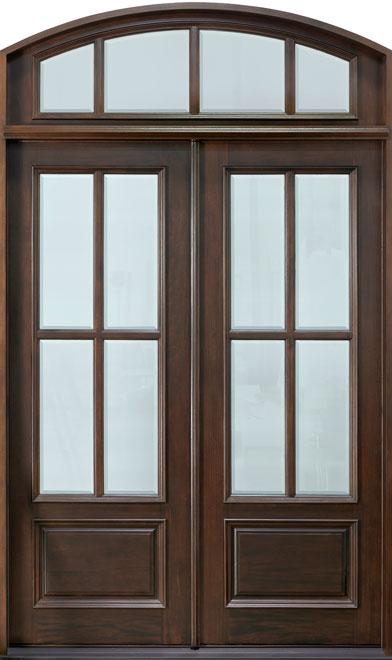 Classic Mahogany Wood Front Door - Double - DB-655 DD TR CST
