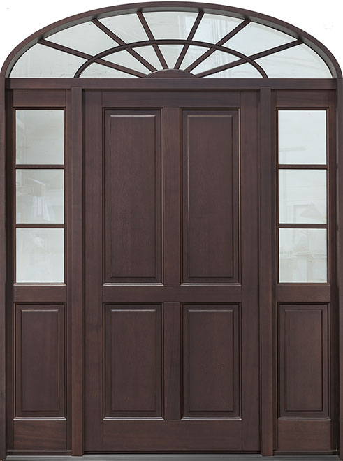 Classic Mahogany Wood Front Door - Single with 2 Sidelites w/ Transom - DB-660PW 2SL TR CST