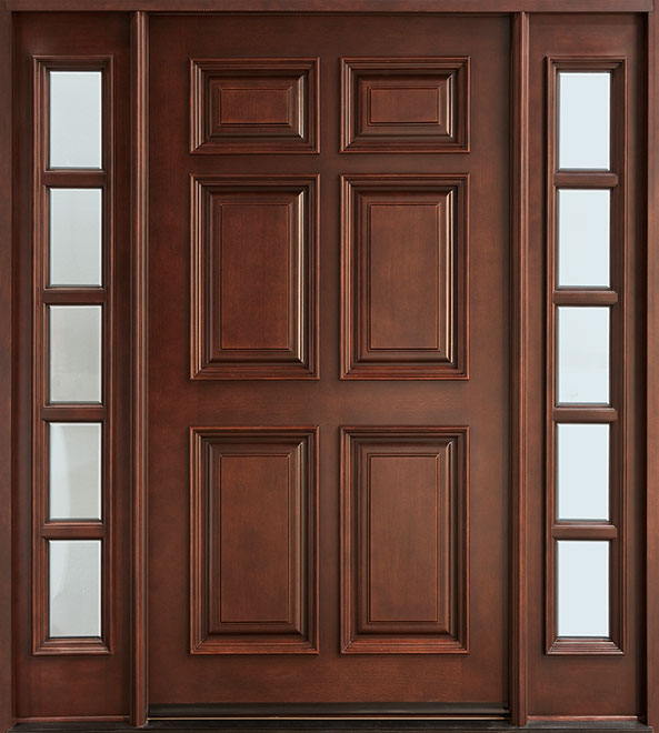 Classic Mahogany Wood Front Door - Single with 2 Sidelites - DB-660 2SL CST