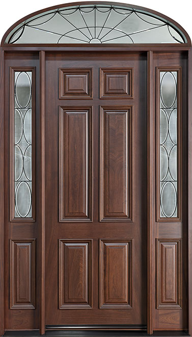 Classic Mahogany Wood Front Door - Single with 2 Sidelites w/ Transom - DB-660 2SL TR CST