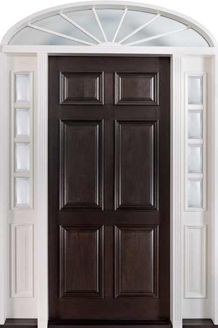 Classic Mahogany Wood Front Door - Single with 2 Sidelites w/ Transom - DB-660 2SL TR W CST