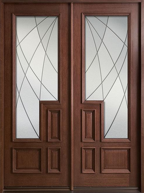 Modern Mahogany Wood Front Door - Double - DB-685 DD CST