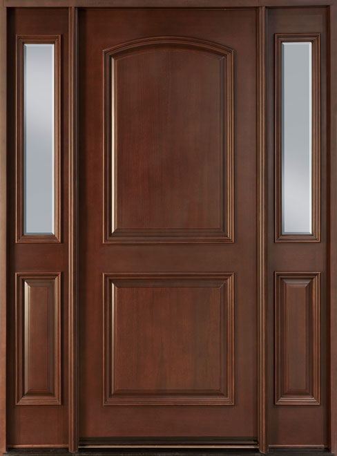 Classic Mahogany Wood Front Door - Single with 2 Sidelites - DB-701P 2SL CST
