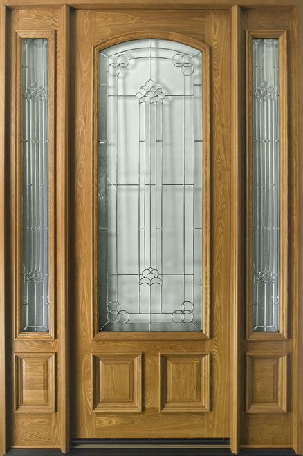 Classic Ash Wood Entry Door - Single with 2 Sidelites - DB-701T 2SL