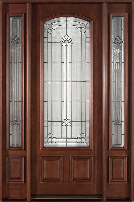 Classic Mahogany Wood Front Door - Single with 2 Sidelites - DB-701T 2SL CST