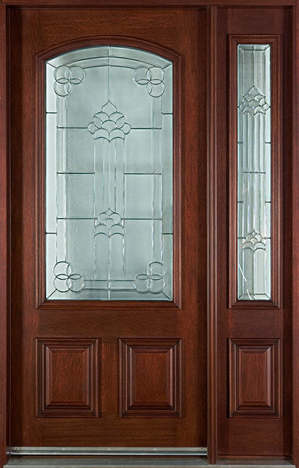 Classic Mahogany Wood Front Door - Single with 1 Sidelite - DB-701 1SL  CST