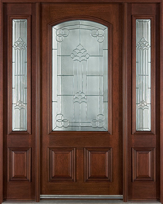Classic Mahogany Wood Front Door - Single with 2 Sidelites - DB-701 2SL CST