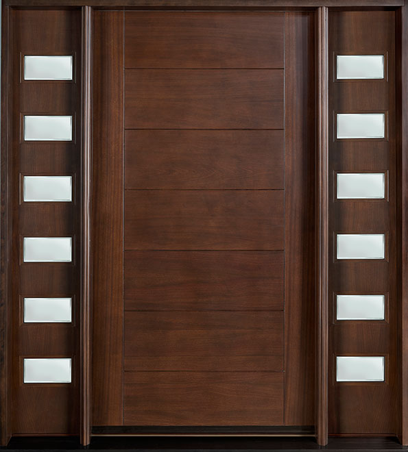 Modern Mahogany Wood Front Door - Single with 2 Sidelites - DB-711 2SL CST
