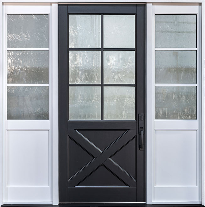 Classic Mahogany Wood Front Door - Single with 2 Sidelites w/ Transom - 758PW 2SL CST