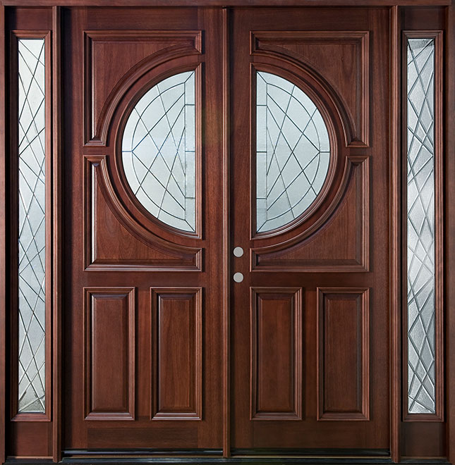 Modern Mahogany Wood Front Door - Double with 2 Sidelites - DB-785 DD 2SL CST