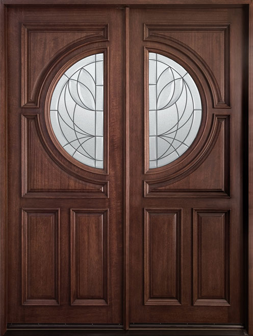 Modern Mahogany Wood Front Door - Double - DB-785 DD CST