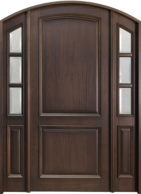 Classic Mahogany Wood Front Door - Single with 2 Sidelites - DB-801PW 2SL CST