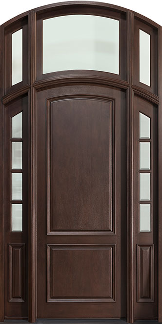 Classic Mahogany Wood Front Door - Single with 2 Sidelites w/ Transom - DB-801W 2SL TR CST