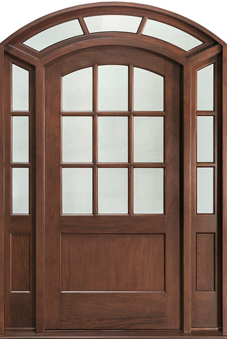 Classic Mahogany Wood Front Door - Single with 2 Sidelites w/ Transom - DB-801 2SL TR CST