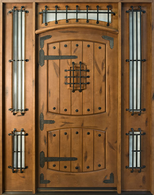 Rustic Knotty Alder Wood Front Door - Single with 2 Sidelites - DB-816W 2SL CST