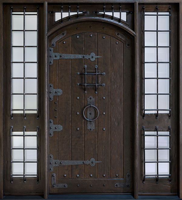 Rustic Mahogany Wood Front Door - Single with 2 Sidelites - DB-816W 2SL CST