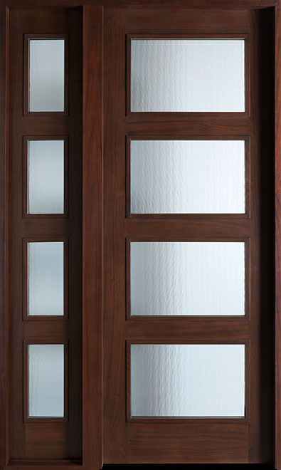 Modern Mahogany Wood Front Door - Single with 1 Sidelite - DB-823 1SL CST