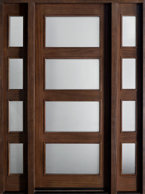 Modern Mahogany Wood Front Door - Single with 2 Sidelites - DB-823 2SL CST