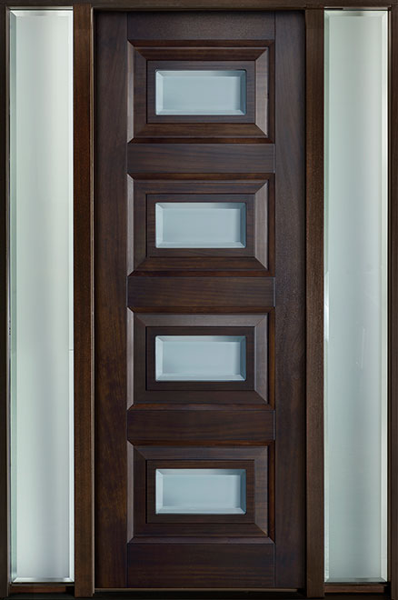 Modern Mahogany Wood Front Door - Single with 2 Sidelites - DB-825PT 2SL CST