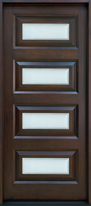 Modern Mahogany Wood Front Door - Single - DB-825W CST