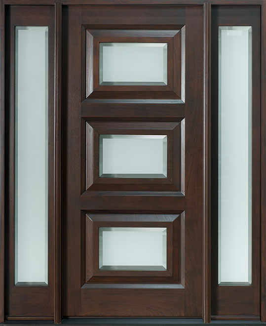 Modern Mahogany Wood Front Door - Single with 2 Sidelites - DB-825 2SL CST