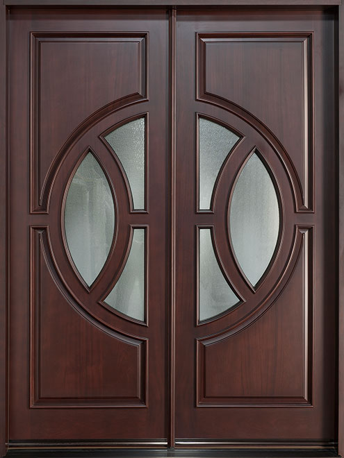Modern Mahogany Wood Front Door - Double - DB-885P DD CST