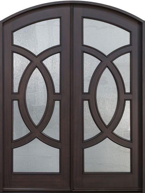 Modern Mahogany Wood Front Door - Double - DB-885R DD CST