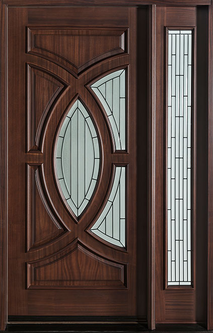 Modern Mahogany Wood Front Door - Single with 1 Sidelite - DB-885 1SL CST