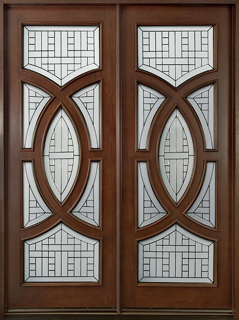 Modern Mahogany Wood Front Door - Double - DB-885 DD CST