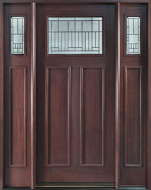 Classic Mahogany Wood Front Door - Single with 2 Sidelites - DB-901A 2SL CST