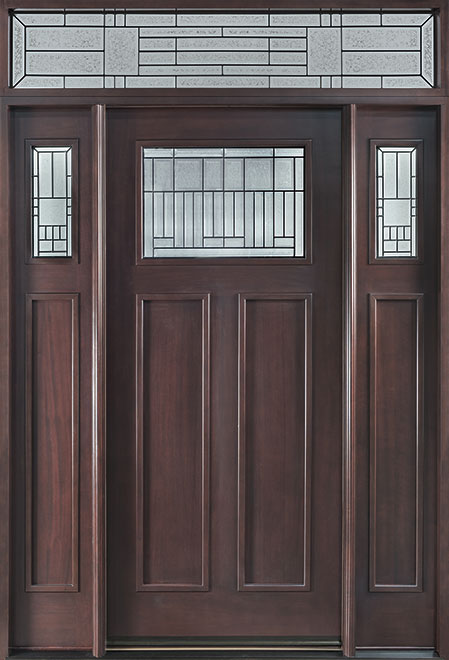 Classic Mahogany Wood Front Door - Single with 2 Sidelites - DB-901A 2SL TR CST