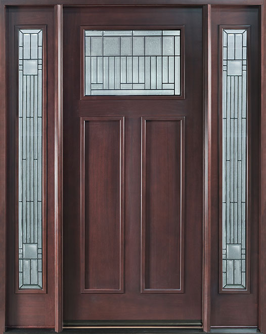 Classic Mahogany Wood Front Door - Single with 2 Sidelites - DB-901B 2SL CST