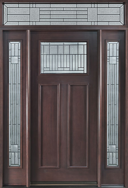 Classic Mahogany Wood Front Door - Single with 2 Sidelites - DB-901B 2SL TR CST