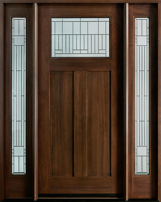 Craftsman Mahogany Wood Front Door - Single with 2 Sidelites - DB-901 2SL CST