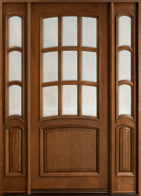 Classic Cherry Wood Front Door - Single with 2 Sidelites - DB-908-2SL CST