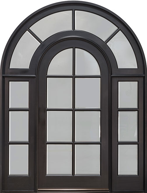 Classic Mahogany Wood Front Door - Single with 2 Sidelites - DB-916  SL CST